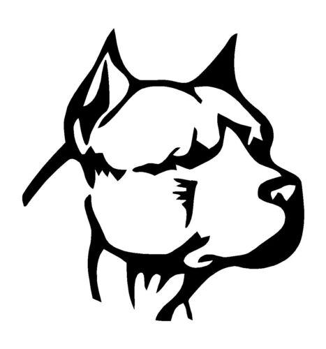 Pitbull Head White Decal Car Laptop Window Vinyl White Sticker  FREE SHIPPING