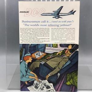 Vintage-Revue-Annonce-Imprime-Design-Publicite-Douglas-DC-8-Jetliner