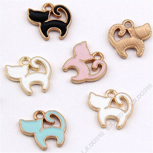 Enamel charms cat pendant jewelry making gold gp small pendants image is loading enamel charms cat pendant jewelry making gold gp aloadofball Image collections