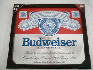 BUDWEISER BEER ANHEUSER BUSCH MIRRORED FRAME PICTURE BAR SIGN 15 X 13 LAST ONE