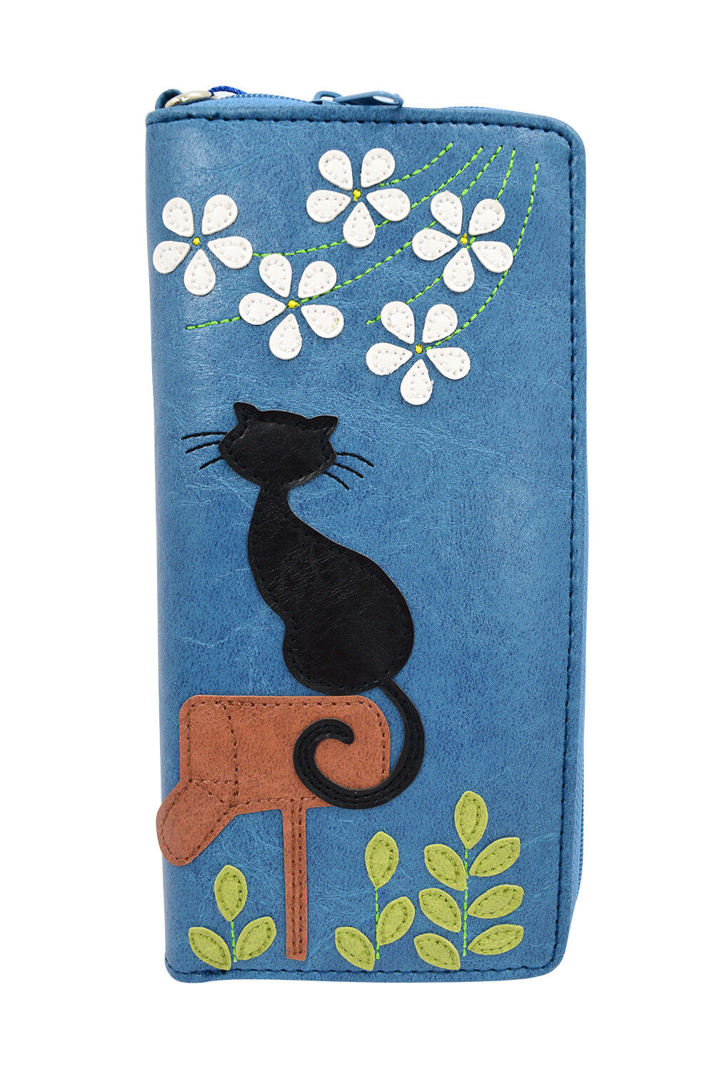Lavishy Playful Cat on Mailbox and Flower applique Bifold Large Wallet W/ Strap