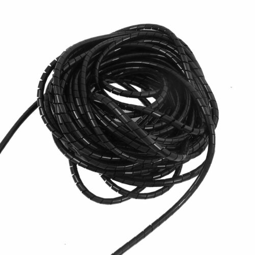 6mm Outside Dia 6.4M PE Polyethylene Spiral Cable Wire Wrap Tube Black T1