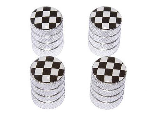 Racing Tire Rim Wheel Valve Stem Caps Checkered Flag Aluminum