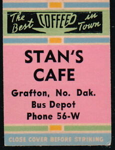 GRAFTON-ND-Stan-039-s-Cafe-Bus-Depot-Vintage-Restaurant-Match-Book-Cover-Old-Ad