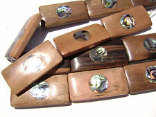 DJ-10 Ebony Wood Inlaid Paua Abalone Shell Bead Component Rectang Handmade Large