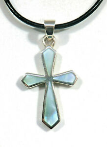 Perlmutt-Kreuz-Anhaenger-925-Sterling-Silber-mit-Lederband-2-mm-40-cm-Lang-Neu