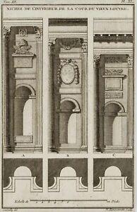 RANSONNETTE-1745-Nischen-im-alten-Louvre-Architektur-18-Jh-Radierung