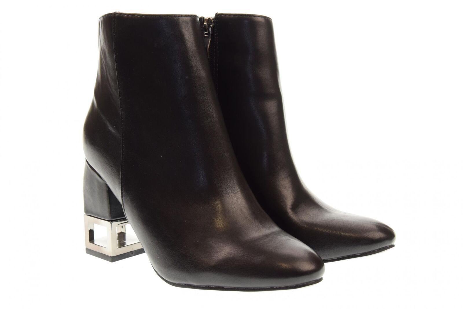 oro Y Dorado A18u para Mujeres Zapatos botas al Tobillo Tacón Alto GM11 Negro
