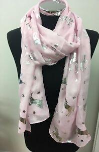 Pink-Silver-Unicorn-Ladies-Scarf-Unicorns-Shiny-Metallic-Foil-NEW
