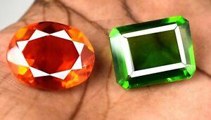 90-100 Ct Brazilian Peridot & Orange Topaz Gemstone Pair Mix Shape AGI Certified
