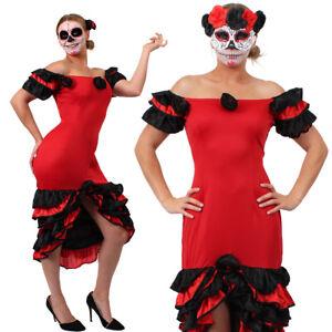 Ladie-rosso-rumba-abito-Maschera-SPAGNOLO-giorno-dei-morti-Costume-Halloween-Fancy-Dress