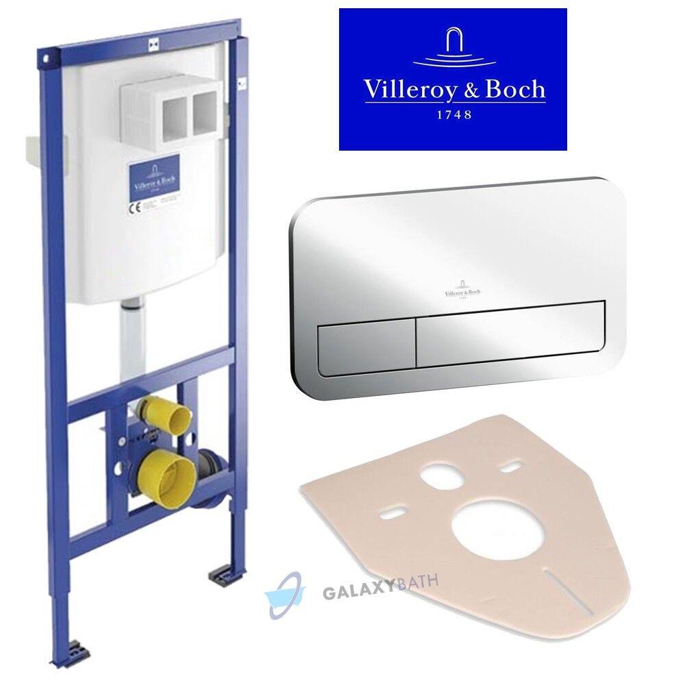 Villeroy & Boch viconnect oculto WC Inodoro Marco + Chrome doble placa de descarga