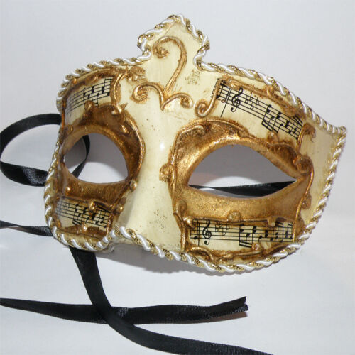 MUSIK Edle venezianische Halbmaske Karneval Mardi Gras gold-beige Maske