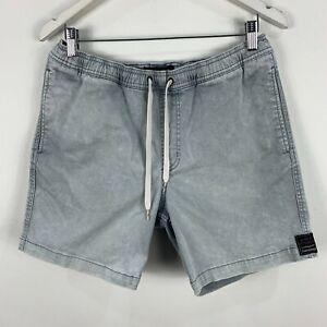 Quiksilver-Mens-Shorts-Medium-Grey-Denim-Elastic-Waist-Drawstring-Pockets