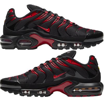 red nike air max plus on feet