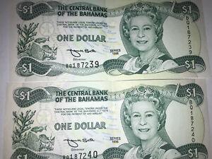 2 Beautiful 1996 Central Bank of The Bahamas One Dollar Banknote With Sequence #