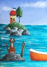 ORIGINALE Acrilico ACEO Painting by JULIA Seaside Cat & Barca FLORA