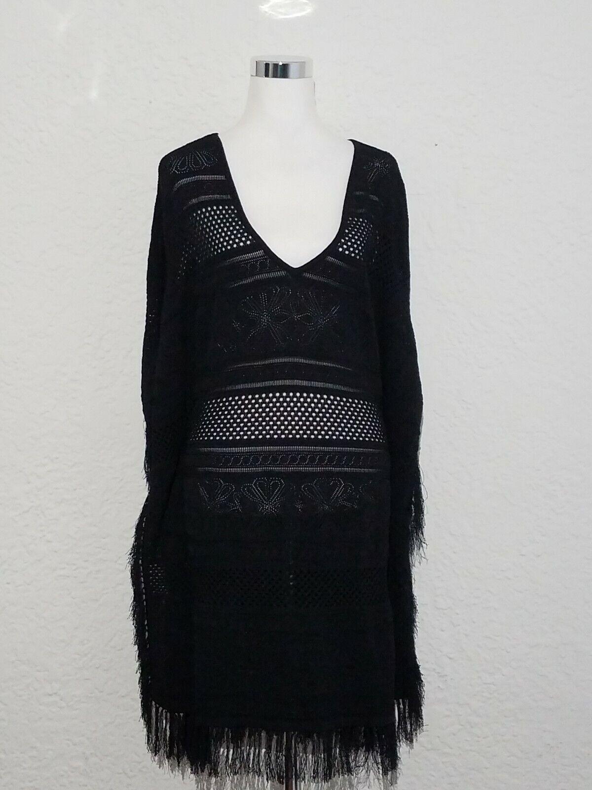 ELIE TAHARI WOMAN'S PONCHO KNIT COVER FRINGE DRESS Größe   8