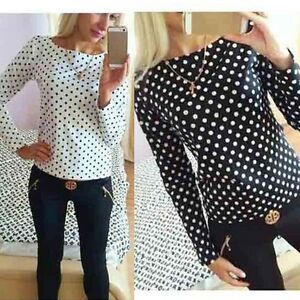 New-Fashion-Women-Polka-Dot-Casual-Loose-Chiffon-Long-Sleeve-Shirt-Blouse-Tops