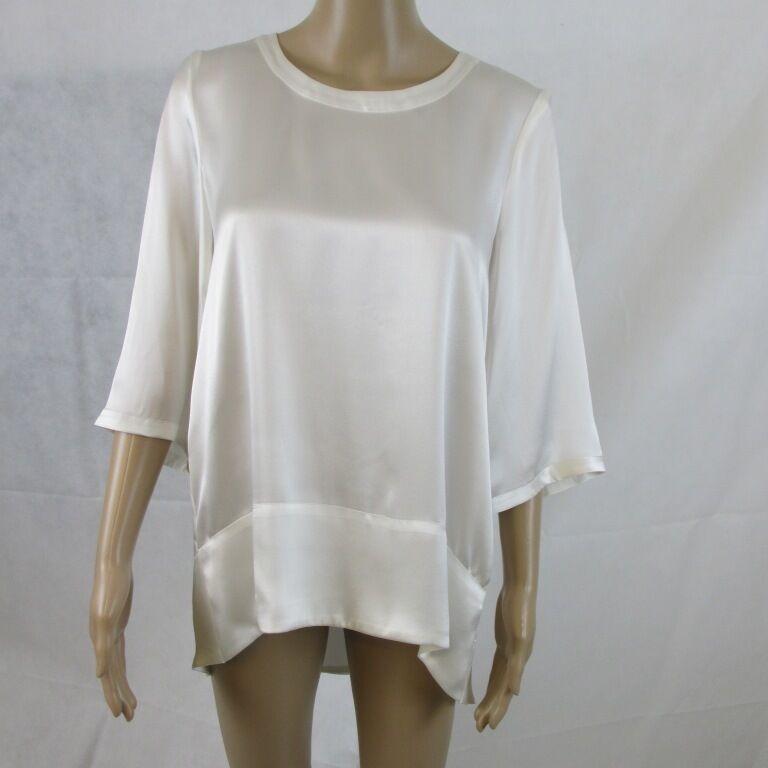 Seiden Shirt in der Sommerfarbe ecru, Größe 34