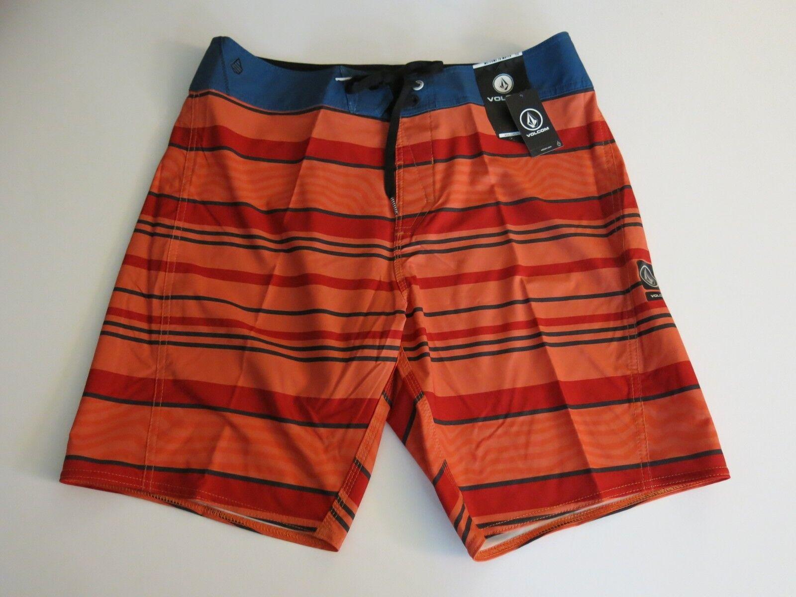 Volcom Surf Men's 36 Board Shorts Sixta Stretch orange Red bluee Stripe NWT