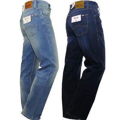 Mustang Big Sur Jeans Uomo Loose Fit Gamba Ampia Blu Scuro Celeste Elasticizzato