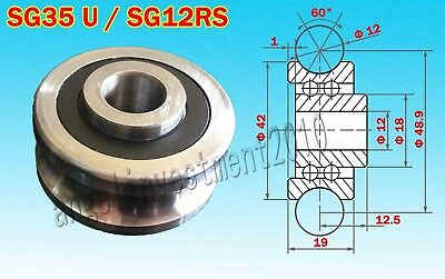 10pcs SG35 U Groove Sealed Ball Track Guide Bearing Textile Machin12*42*19mm New
