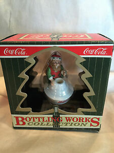 ELF SITTING ON GLASS COCA COLA CHRISTMAS ORNAMENT BOTTLING WORKS COLLECTION