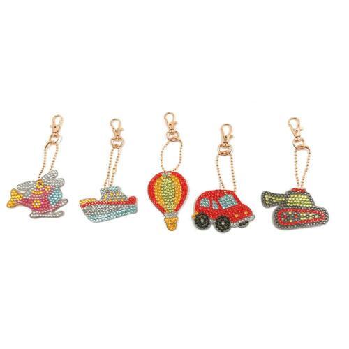 5pcs DIY Full Drill Diamond Painting Key Chain Keychain Key Ring Handmade Gift