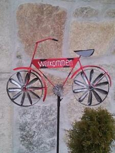 Détails sur Moulin à Vent Vélo bienvenue décoration jardin sculpture  gartenstab carillon rouge- afficher le titre d\'origine