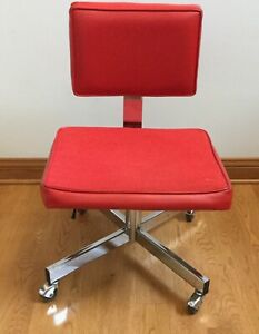 871bd6a1ba6a4 Details about Vintage Red Mid Century Modern Industrial Chrome Office Chair  All-steel Inc.
