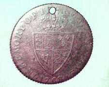 1768 Great Britian Token, Med Grade Circulated Brass Coin, George III (UK-3)