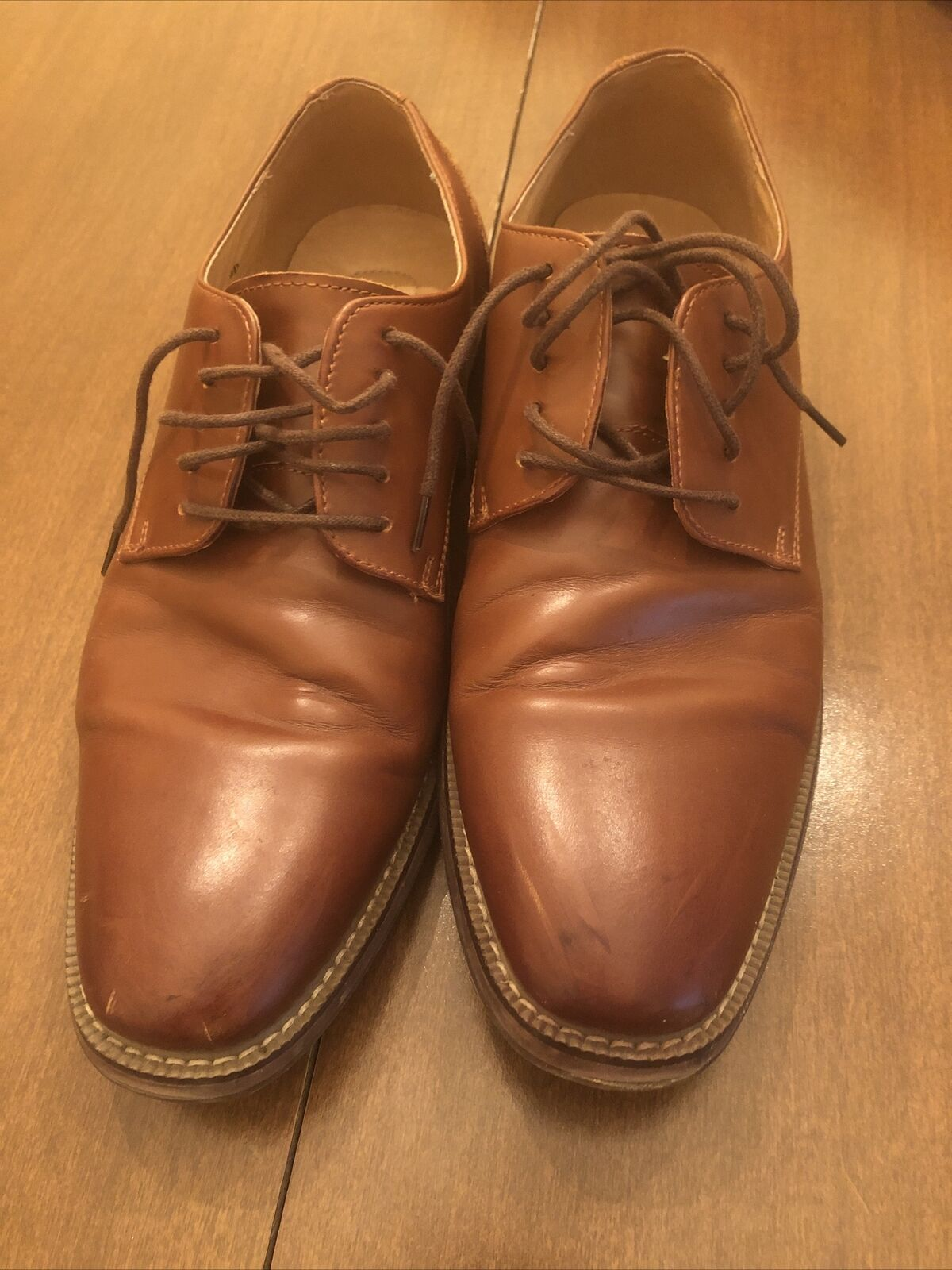 Joseph Abboud Mens 10 Dress Shoes Brown Lace Up Low Top Square Toe Leather