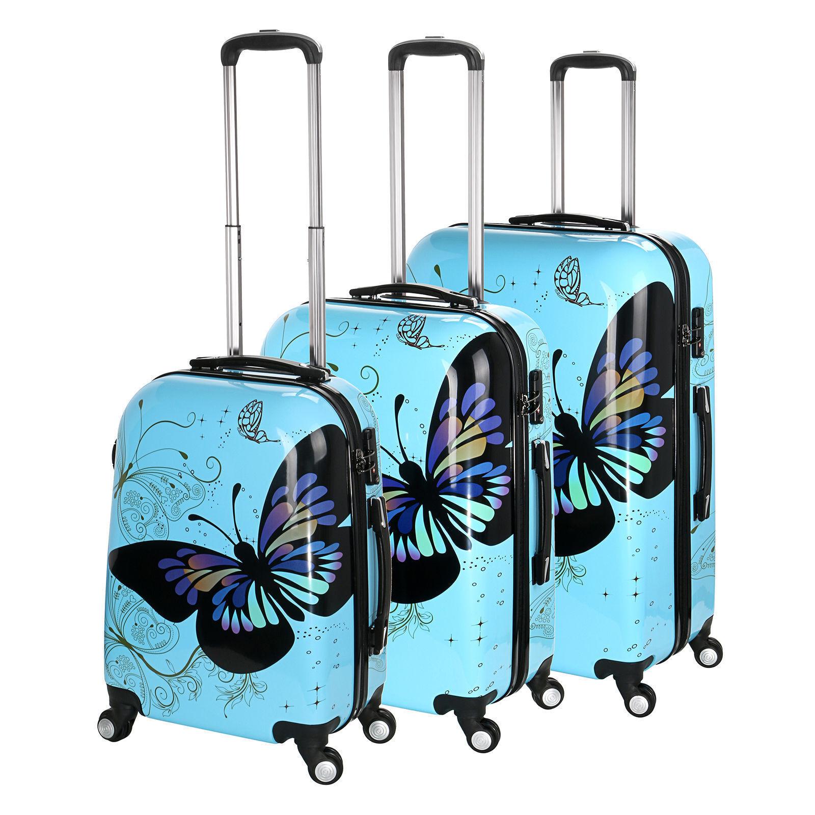 NUOVO Farfalla Blu 4 ruote valigia scocca rigida PC A MANO TROLLEY CABINA
