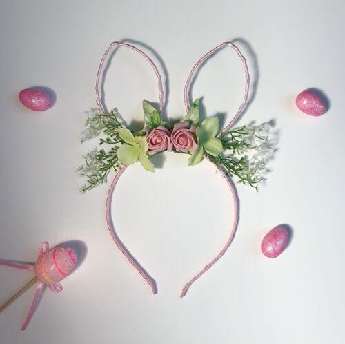 Pink Flower Green Gypsophila Bunny Ears Hair Head Band Easter Choochie Choo Boho