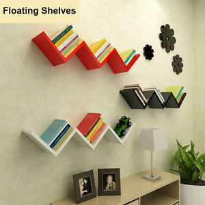 Image Is Loading W Shaped Floating Wall Shelves DVD CD BOOK