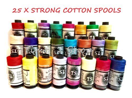 25 X Grande Coser todo propósito 100/% Puro Hilo de algodón carretes 25 exigentes Color