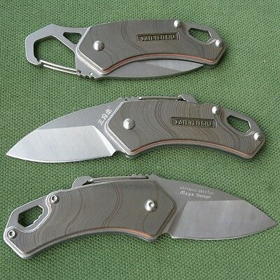 Sanrenmu Mini Folding Knife 4077MUC-SBE3 w/ Opener Carabiner Clip Screwdriver