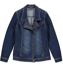 *NEW Ladies Kaleidoscope Blue Wash Denim Diamante Biker Jacket Size 12