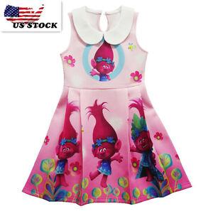 Lovely-Girls-Poppy-Trolls-Sleeveless-Party-Holiday-Birthday-Kids-Dresses-O41