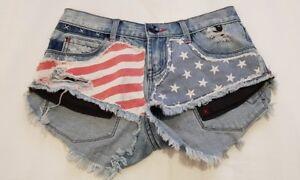 8 americana in denim Rifugio bandiera con Pantaloncini taglia corti taglia CqZ8f8