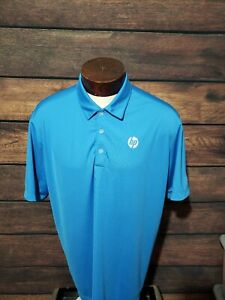 Nike-Dri-Fit-Mens-XL-Extra-Large-Blue-White-HP-logo-Short-Sleeve-Golf-Polo