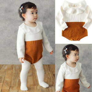 Toddler Kids Girls Baby Knitted Sweater Winter Princess Romper Jumpsuit Clothes