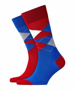 BURLINGTON-Odd-Argyle-Men-Socks-Fashion-Red-Blue