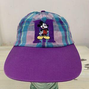 Mickey-Mouse-Vintage-90s-purpura-rosado-verde-azulado-de-cuadros-escoceses-Sombrero-Gorra-Ajustable