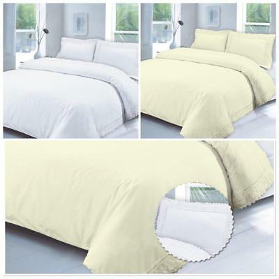 Lace 100/% Cotton Duvet Quilt Bedding Cover White Cream Pillowcase T200 All Sizes