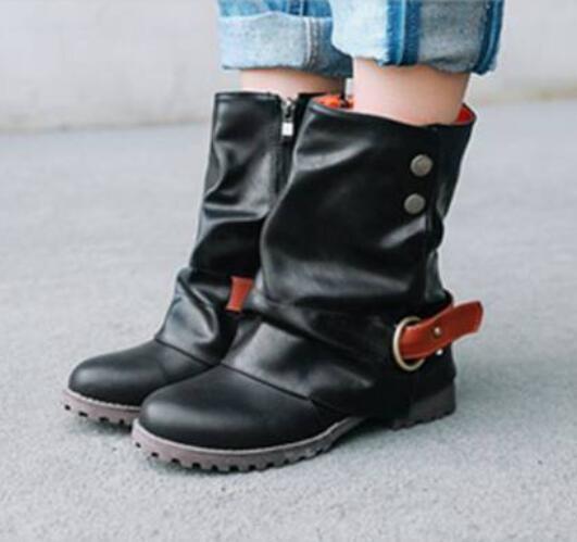 Womens Flats Hidden Heels Mid Calf Riding Combat Boots Outdoor Strap Shoes E637