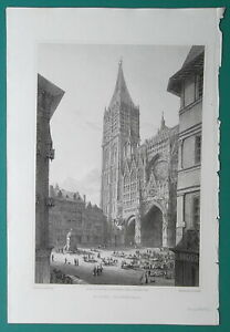 ROUEN-CATHEDRAL-France-1821-Cpt-Batty-Antique-Print