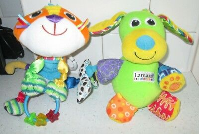 Toys For Baby Objective Lamaze Mittens Kitten Cat And Pupsqueak Dog With Clips Baby Soft Toys Jade White