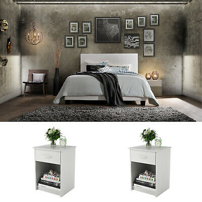 White Bedroom Set Queen Size 3 Piece Furniture Modern Platform Bed 2  Nightstands | eBay